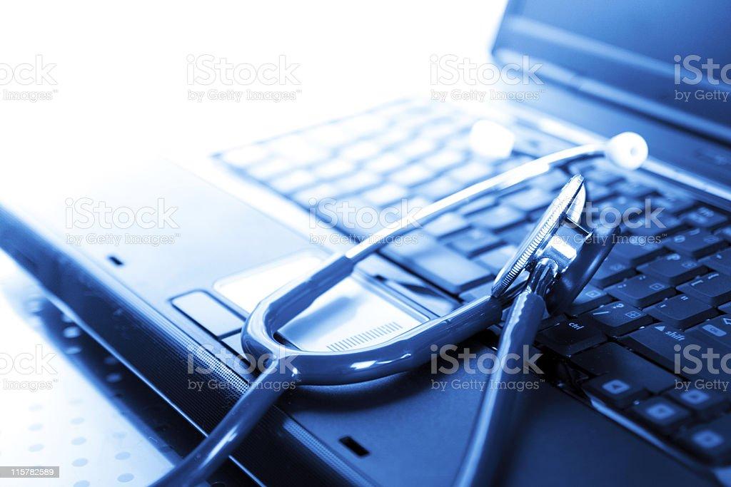 Stethoscope & Laptop stock photo