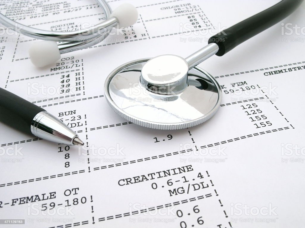 Stethoscope and Blood Tests royalty-free stock photo