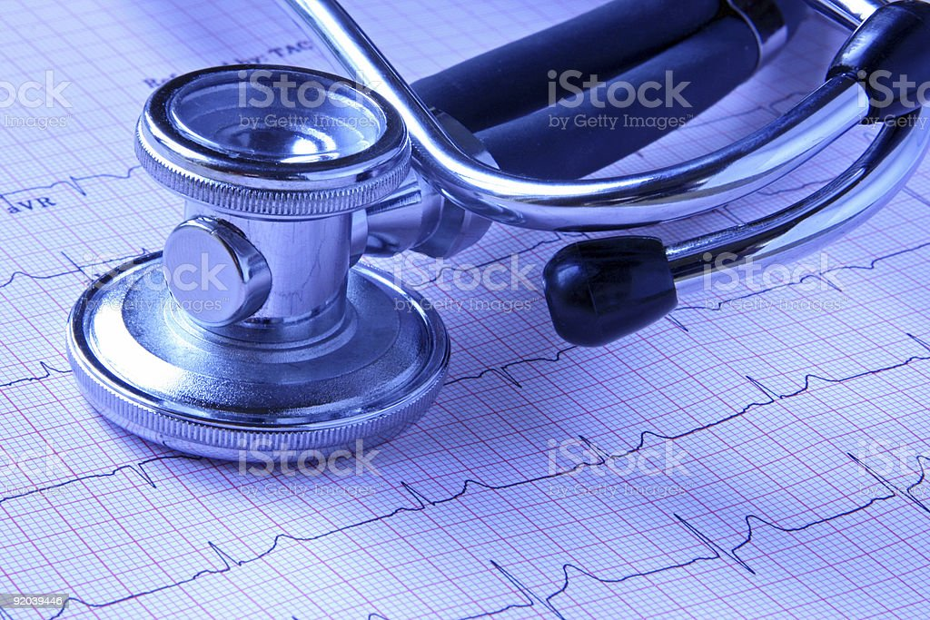 Stethoscope and Cardiogram royalty-free stock photo