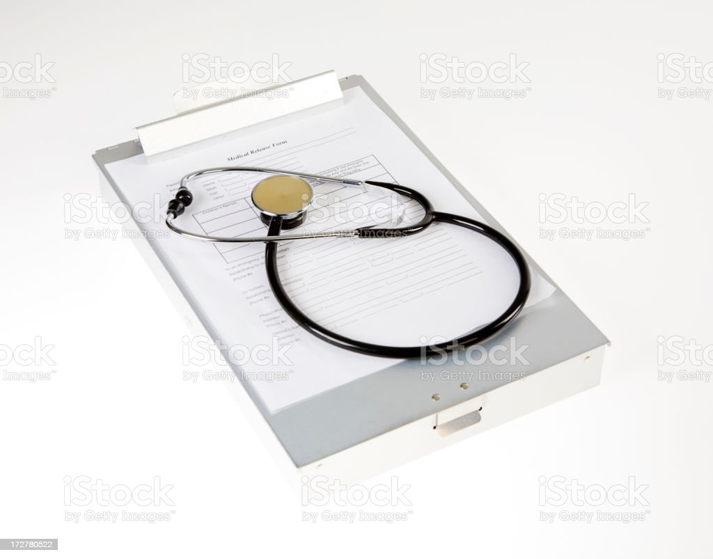 Stethoscope and Clipboard royalty-free stock photo