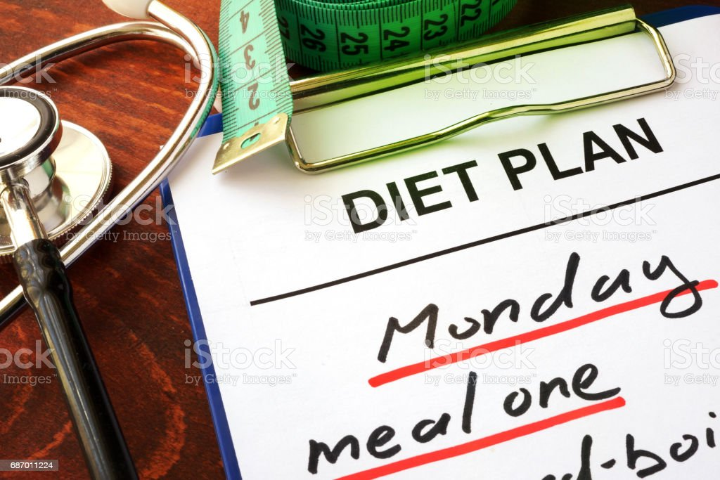 Stethoscope and diet plan. Diabetes diet concept. stock photo