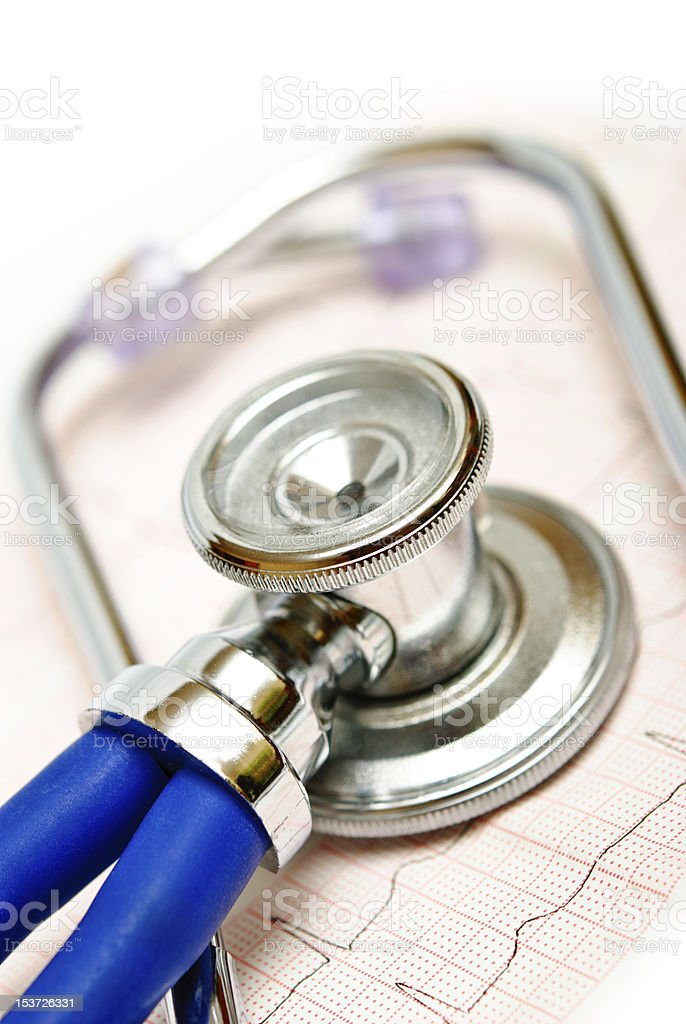 stethoscope and ECG royalty-free stock photo