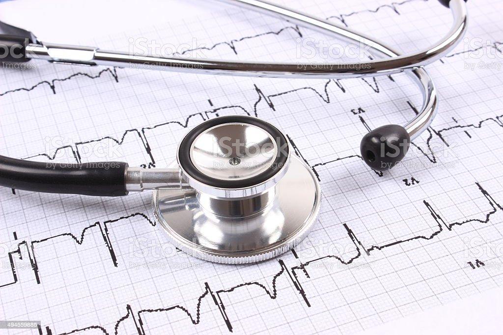 Stethoscope and electrocardiogram stock photo