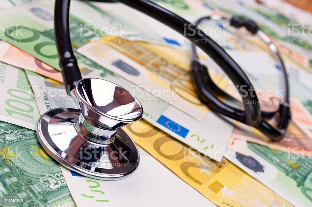 Stethoscope and euro banknotes stock photo