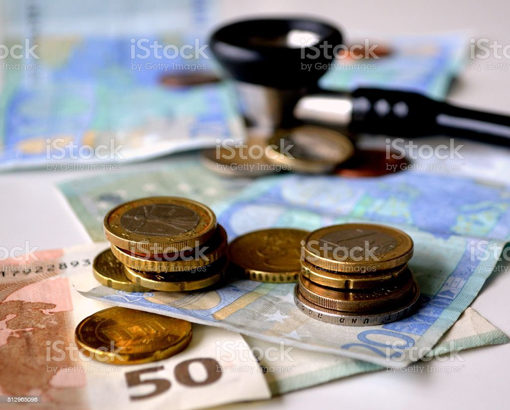 Stethoscope and European currency stock photo