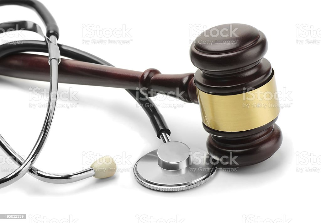 Stethoscope and gavel stock photo