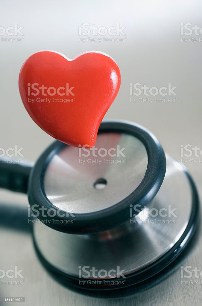 stethoscope and heart close up royalty-free stock photo
