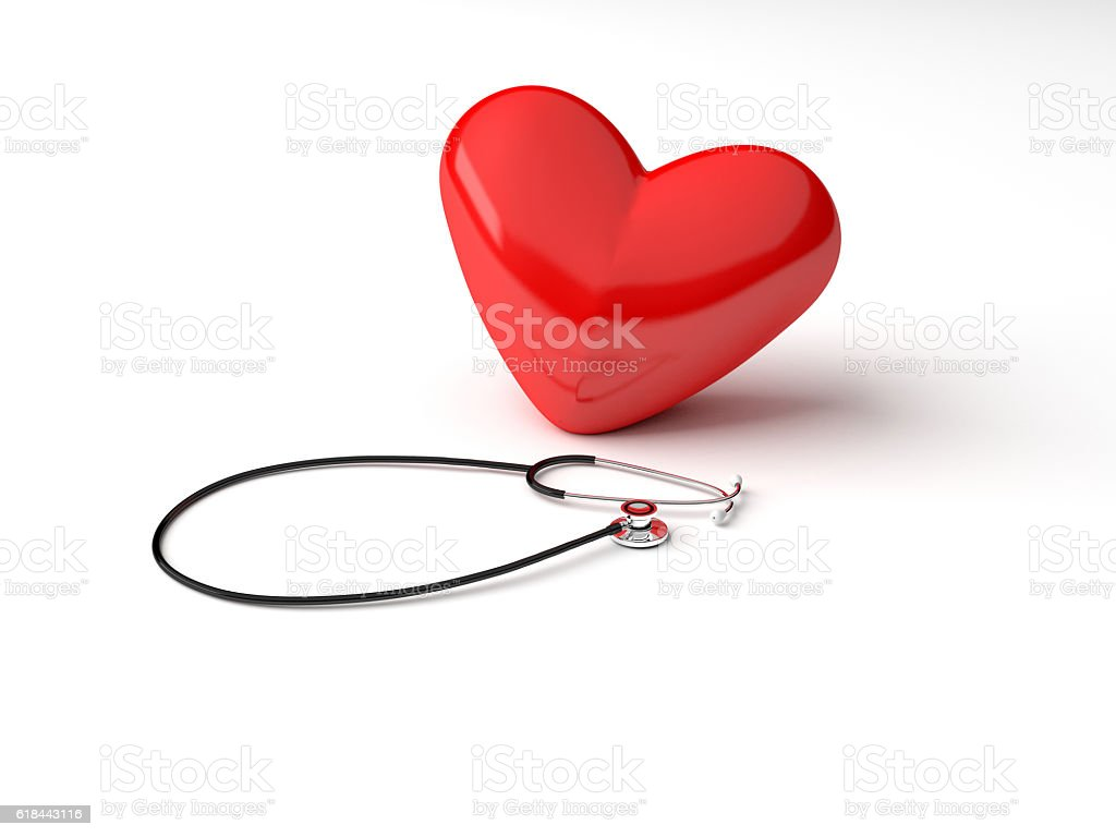 Stethoscope and Heart Concept stock photo