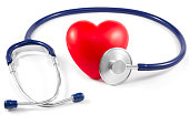Stethoscope and Heart on White Background