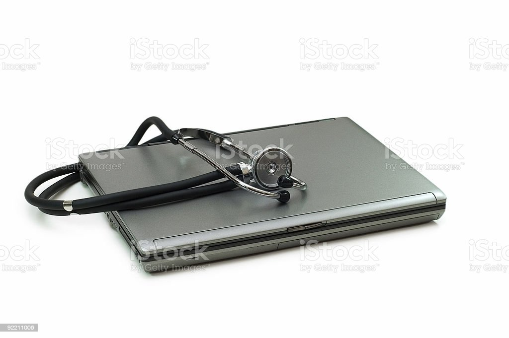 Stethoscope and laptop illustrating concept of digital security royalty-free stock photo