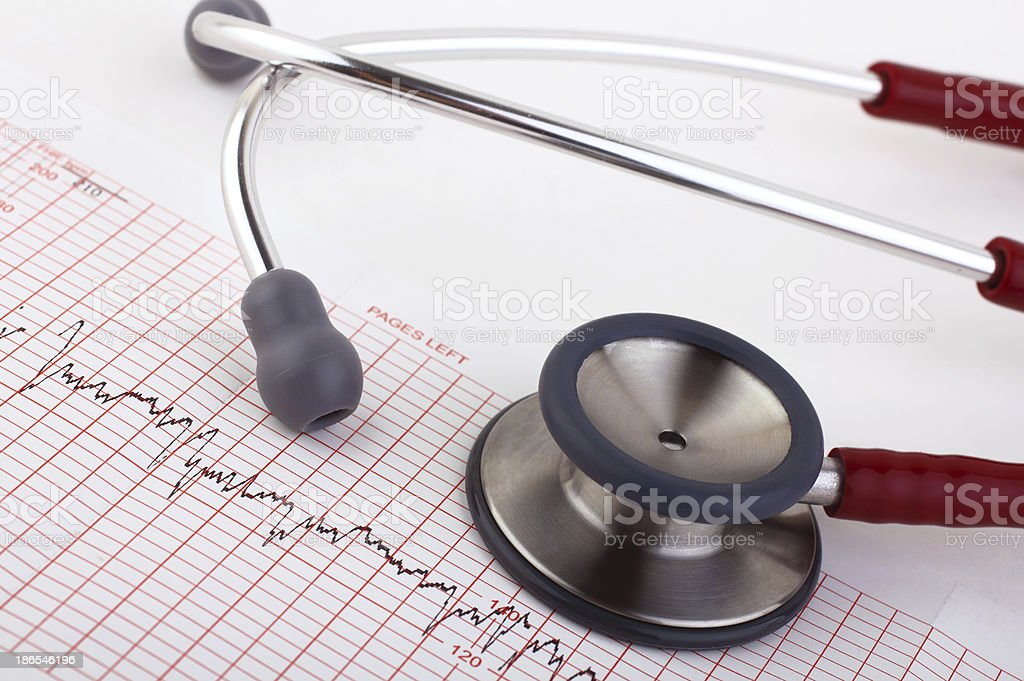 stethoscope and medical chart stock photo