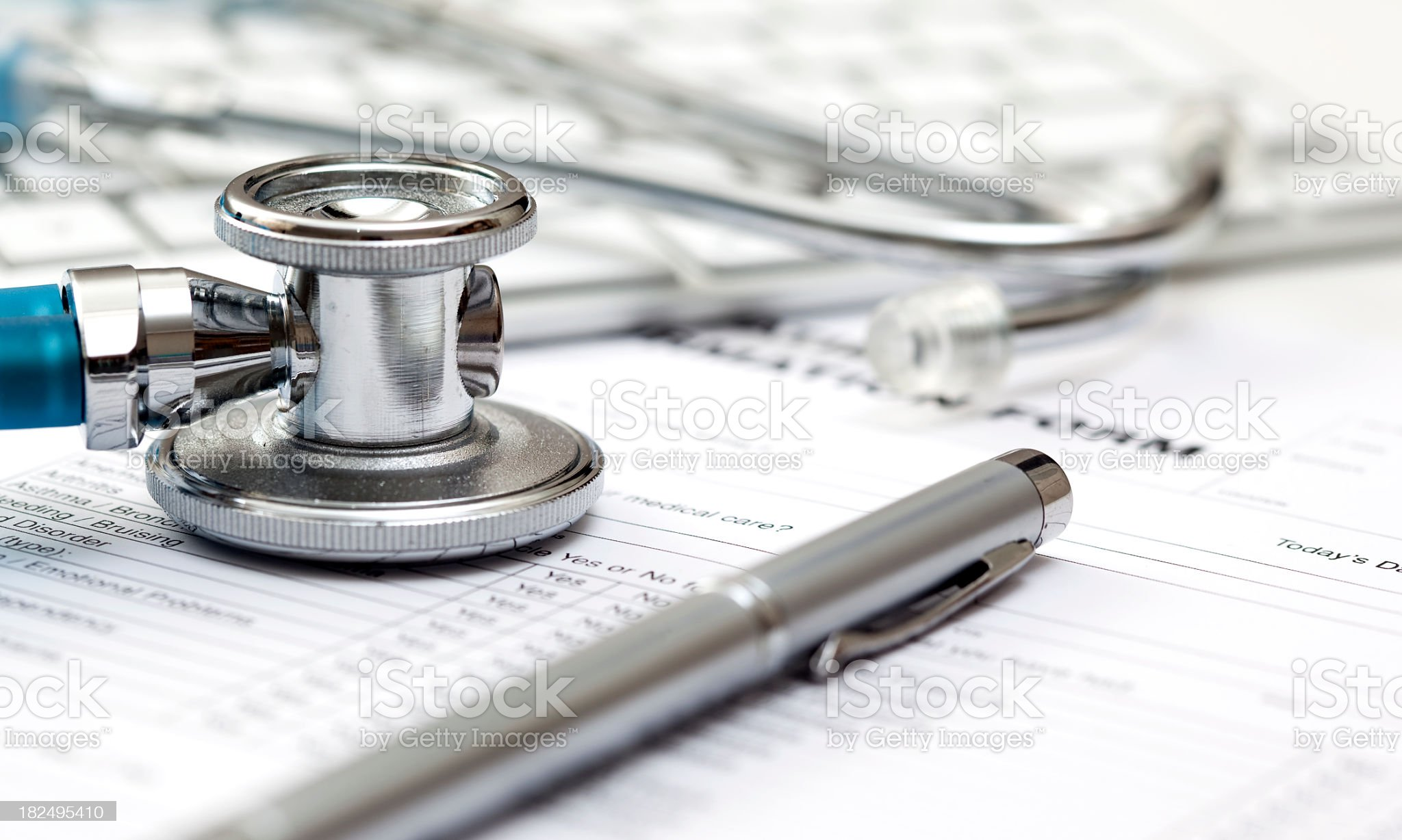 Stethoscope and medical record royalty-free stock photo