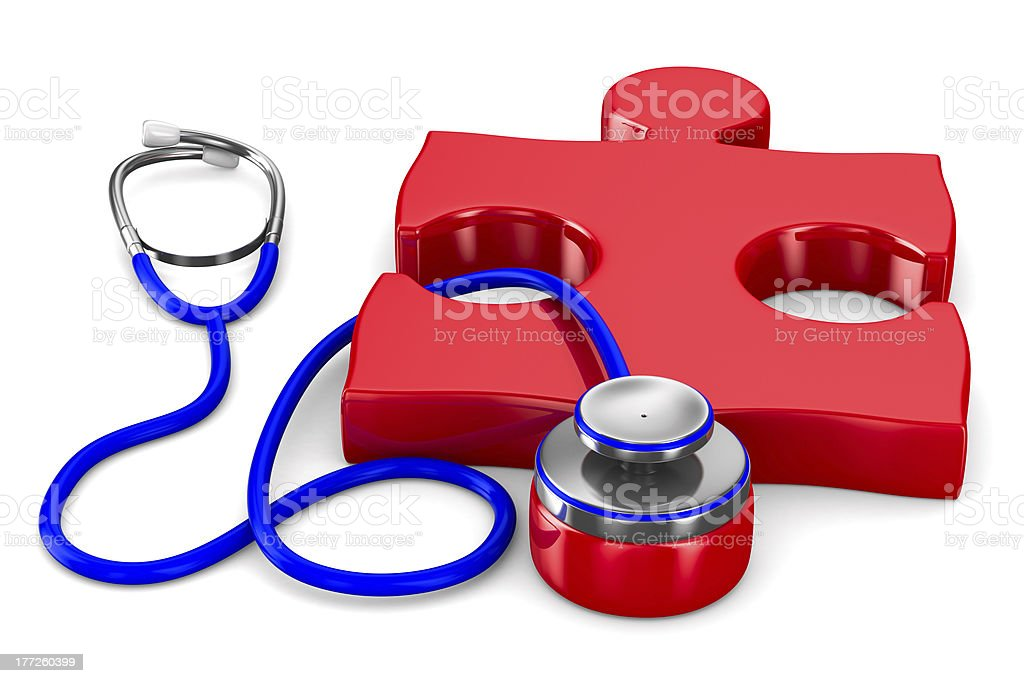 Stethoscope and puzzle on white background. Isolated 3D image royalty-free stock photo