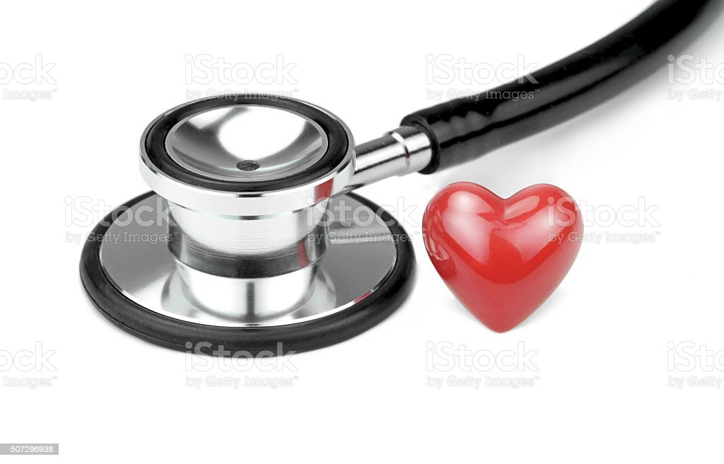 Stethoscope and red heart stock photo