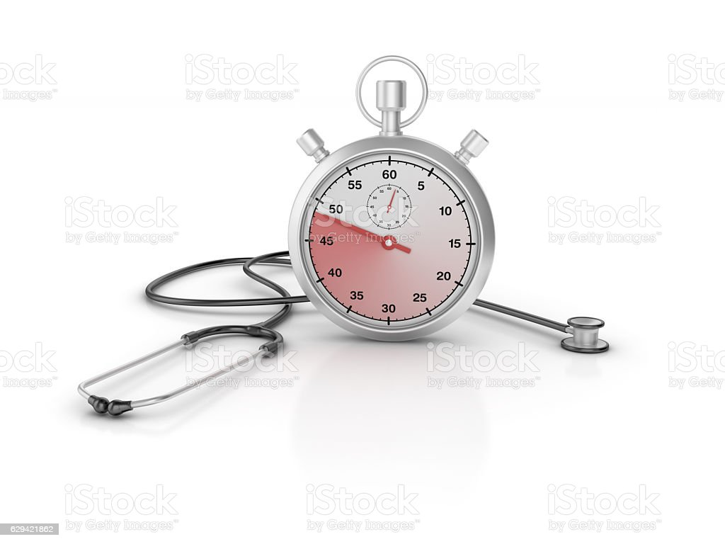 Stethoscope ands Stopwatch - 3D Rendering stock photo