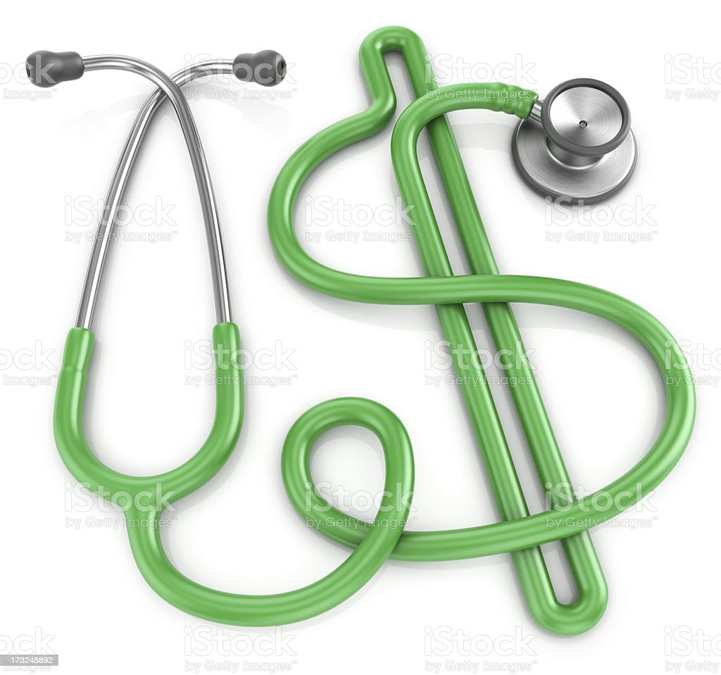 Stethoscope dollar healthcare cost concept stock photo