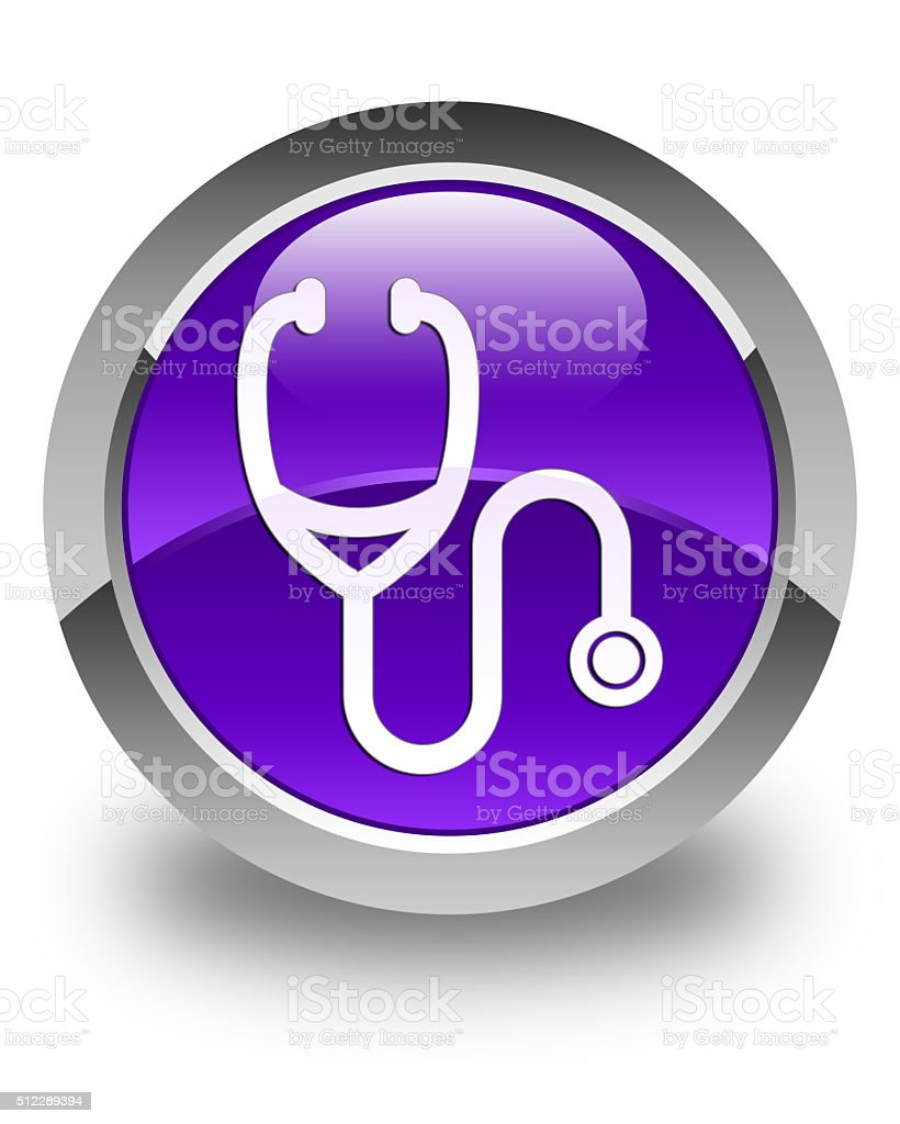 Stethoscope icon glossy purple round button stock photo