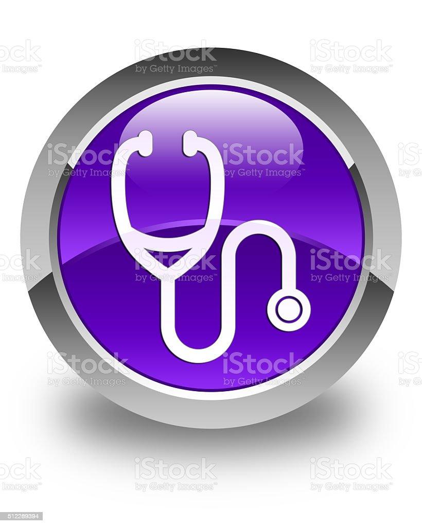 Stethoscope icon glossy purple round button stock photo