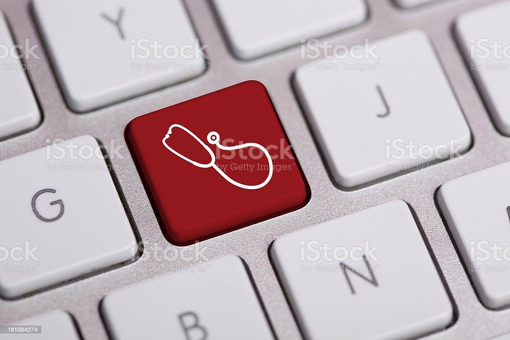 Stethoscope Icon on Keyboard-Healthcare Enter Key stock photo
