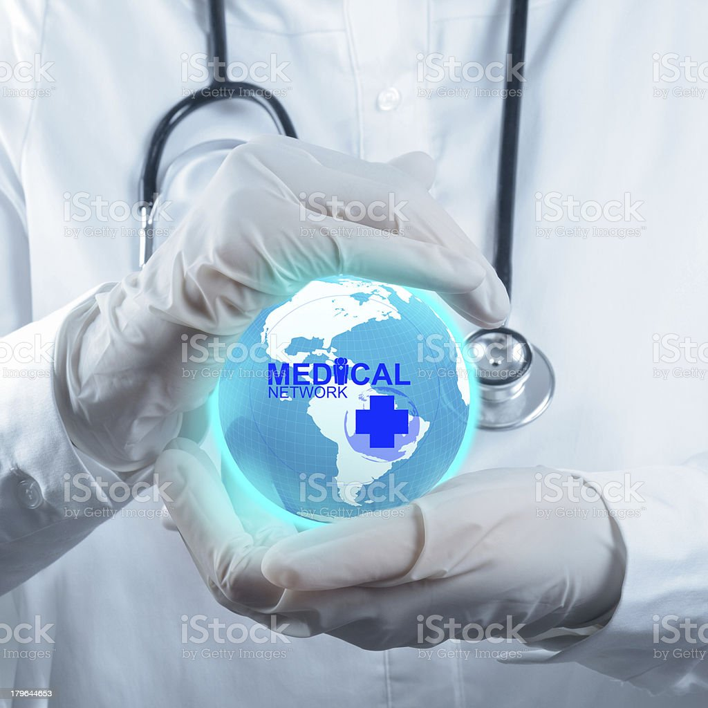 Stethoscope in hand as medical concept royalty-free stock photo