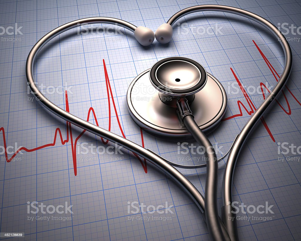 A stethoscope In the shape of a heart stock photo