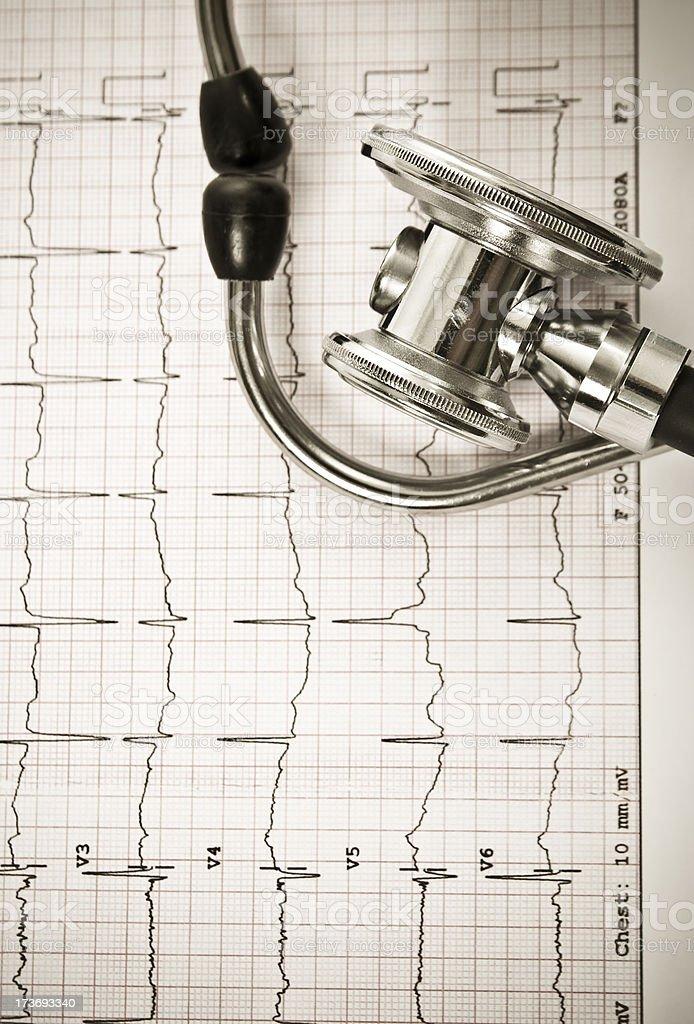 Stethoscope on a EKG sheet.Close-up royalty-free stock photo