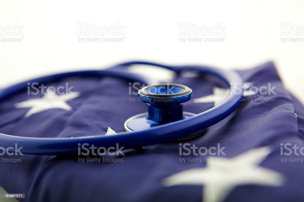 Stethoscope On American Flag stock photo