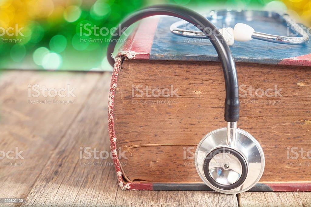 Stethoscope on book stock photo