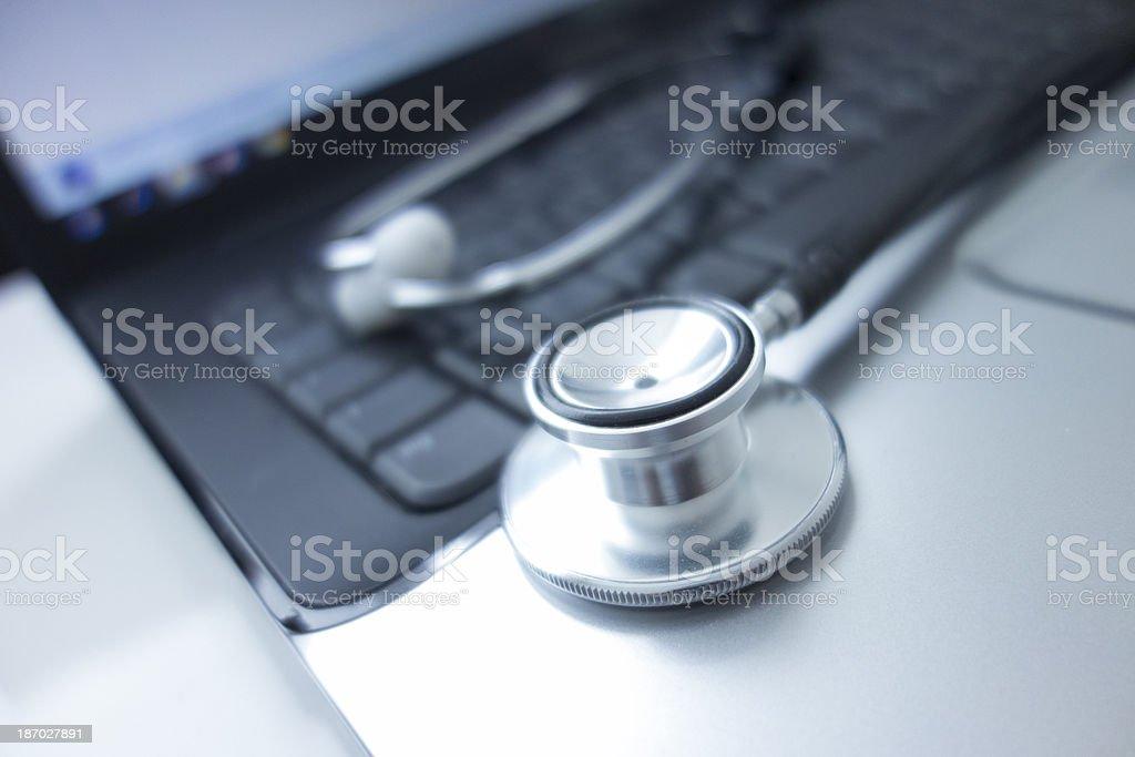 Stethoscope on keyboard royalty-free stock photo