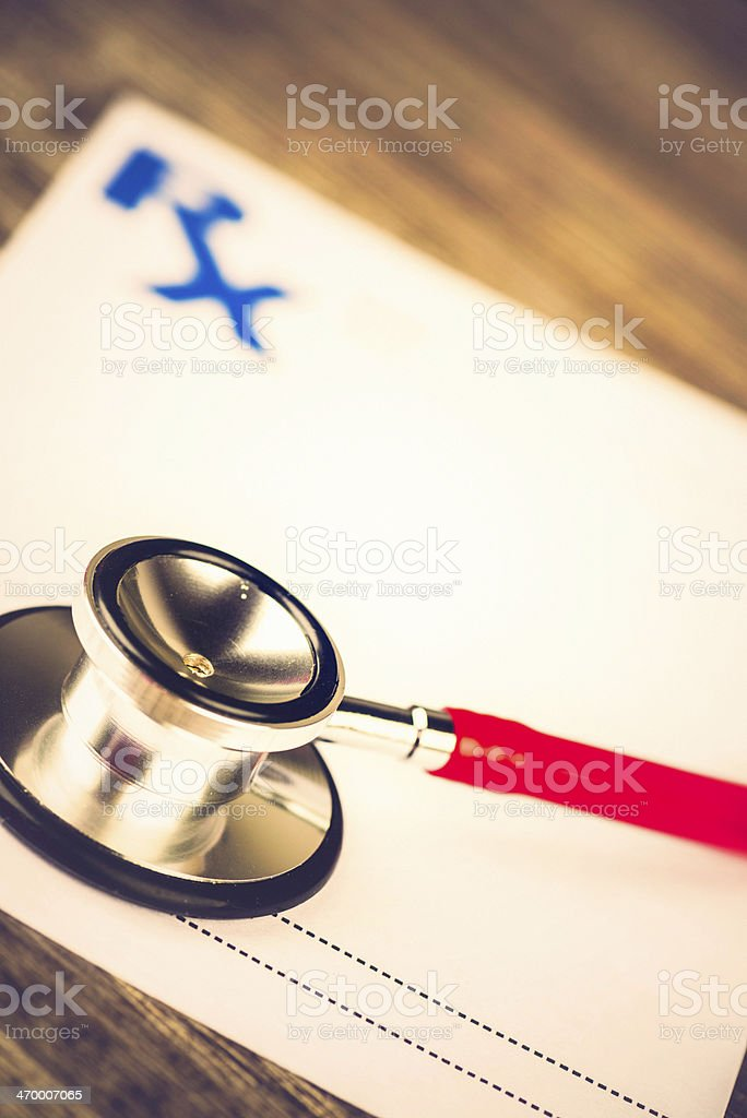 Stethoscope on Medical Prescription royalty-free stock photo