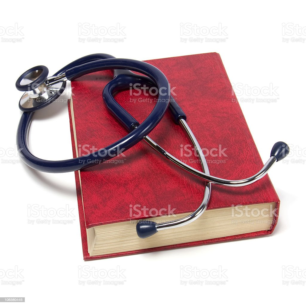stethoscope on red book royalty-free stock photo