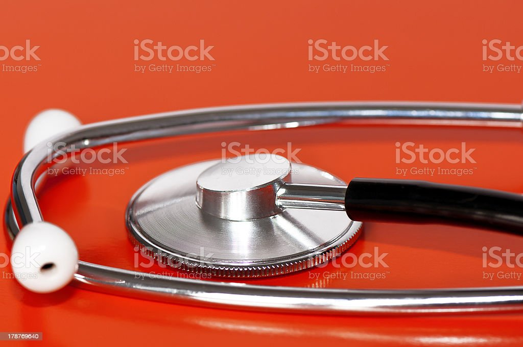 Stethoscope on red royalty-free stock photo