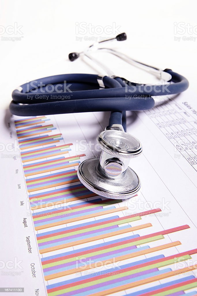 A stethoscope on top of bar charts royalty-free stock photo