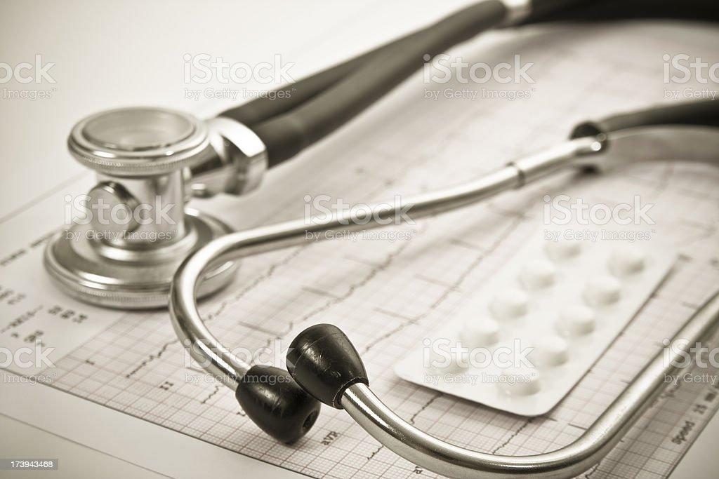 Stethoscope, pills and  EKG .Close-up. stock photo