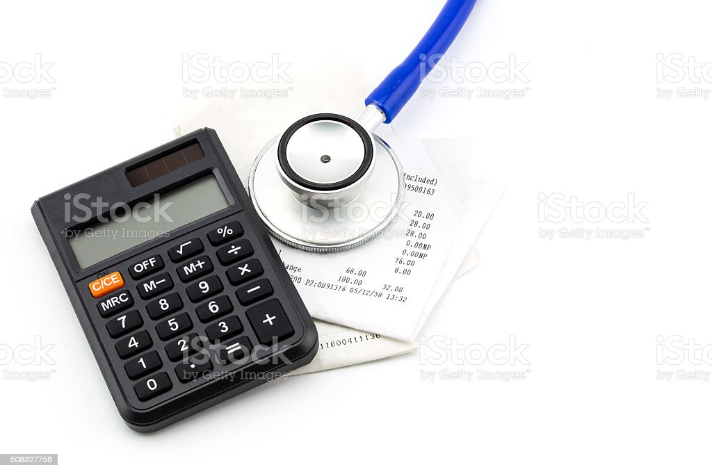 Stethoscope, receipt and calculator, concept business financial stock photo