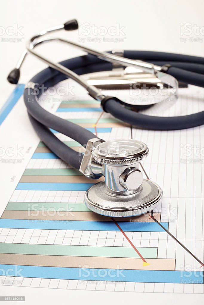 Stethoscope - Research of balance for a doctor royalty-free stock photo
