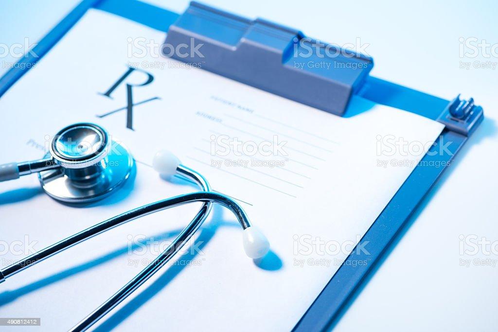 Stethoscope with a RX prescription stock photo