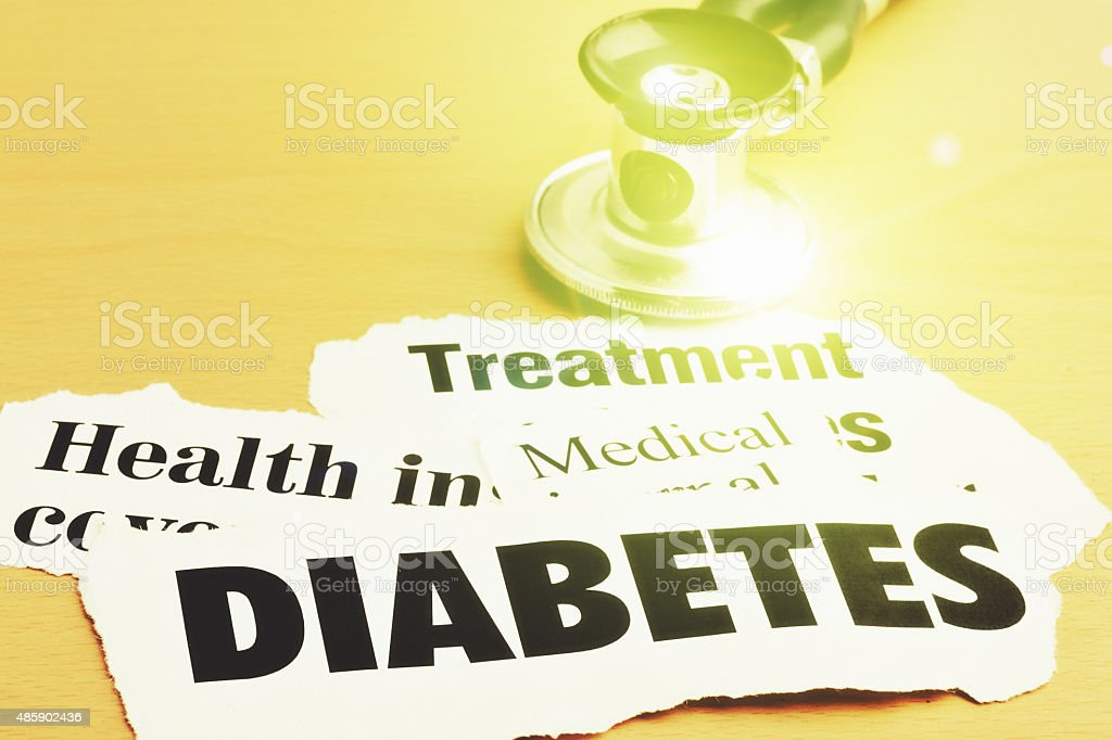 Stethoscope with headlines on diabetes and its treatment stock photo