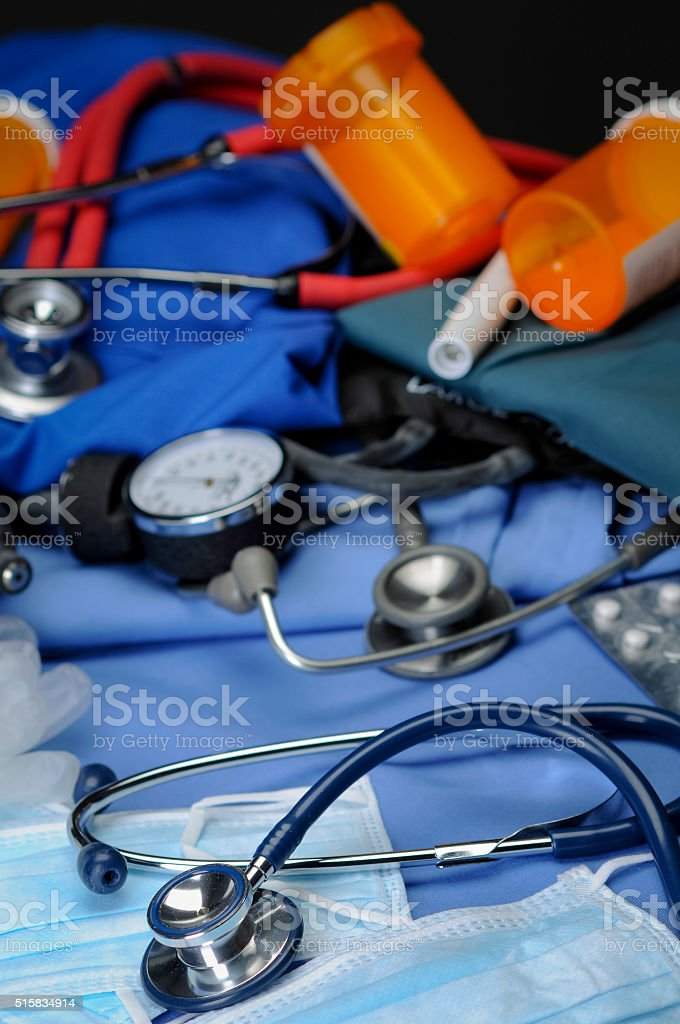 Stethoscope with Medical Supplies stock photo