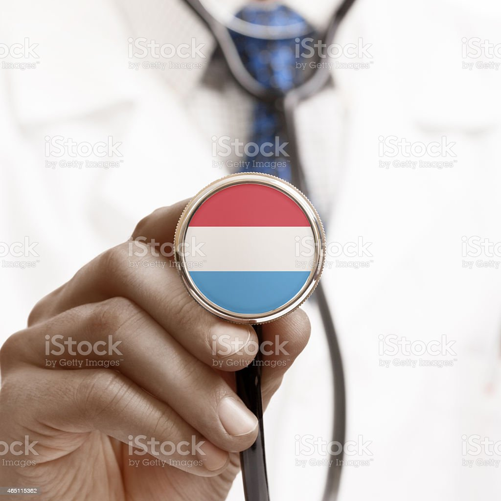 Stethoscope with national flag conceptual series - Luxembourg stock photo
