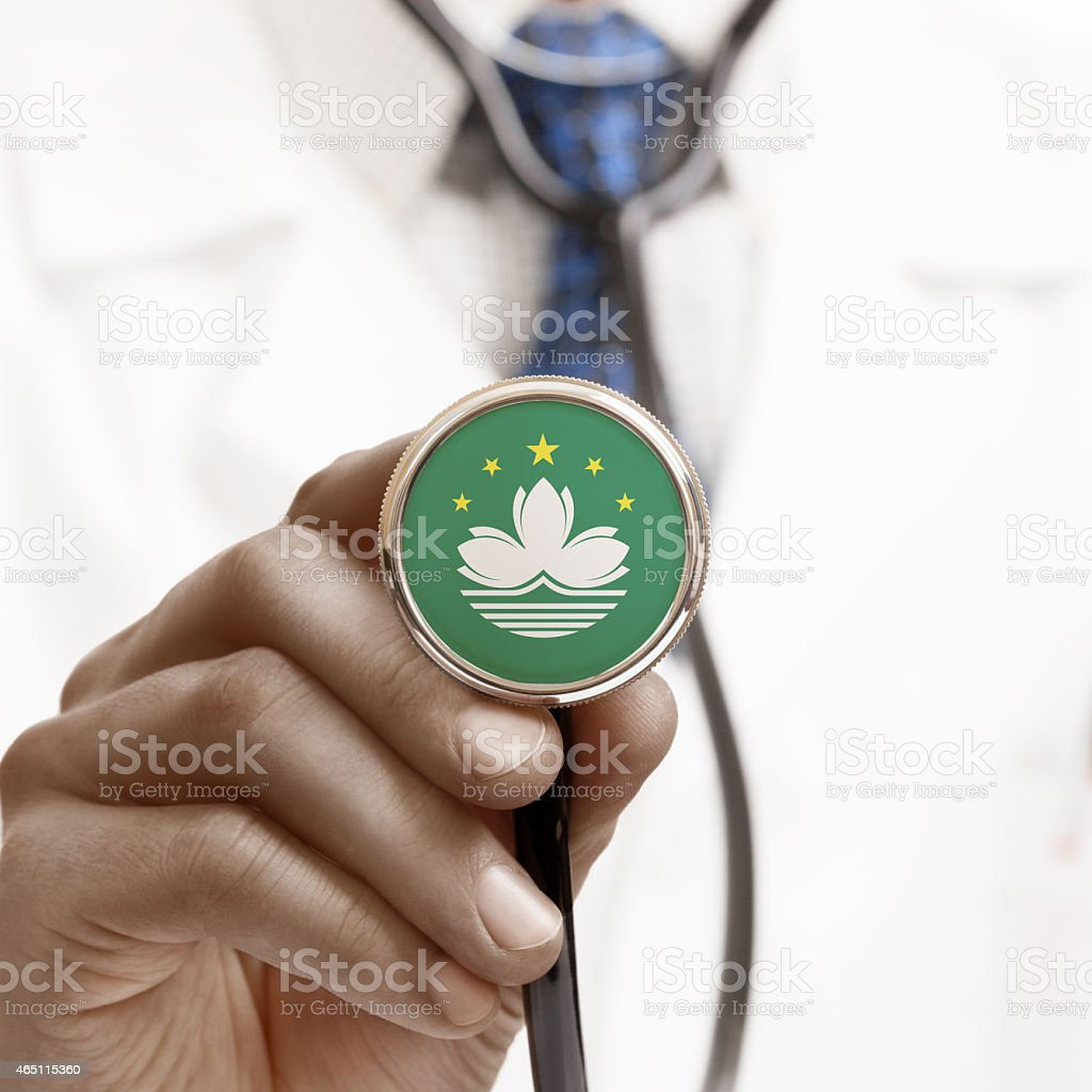 Stethoscope with national flag conceptual series - Macau stock photo