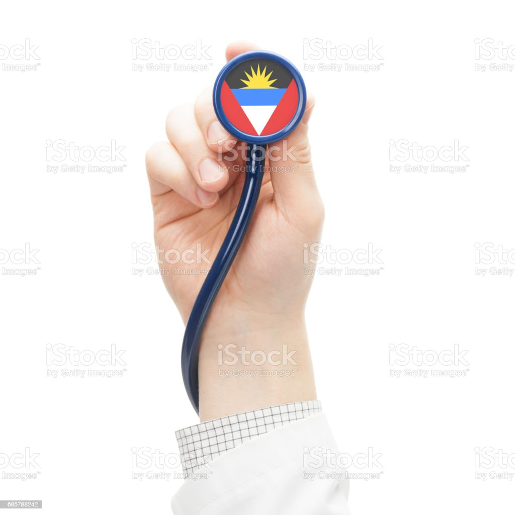 Stethoscope with national flag series - Antigua and Barbuda stock photo