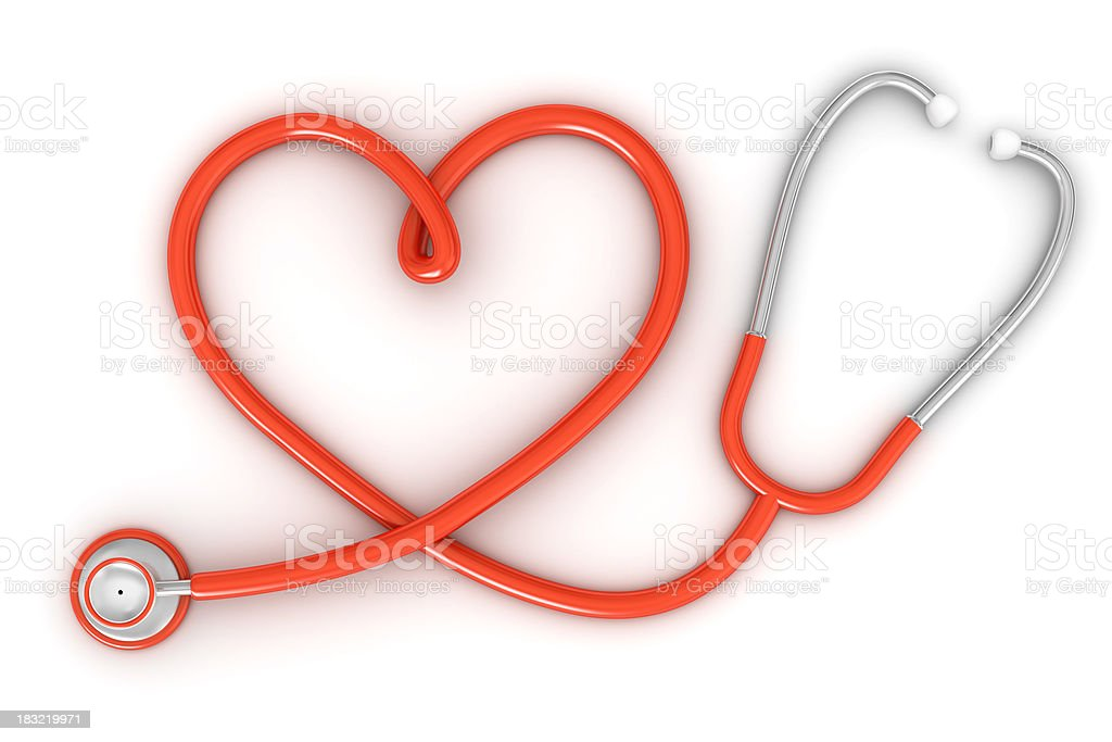 Stethoscope with red heart shaped cord stock photo
