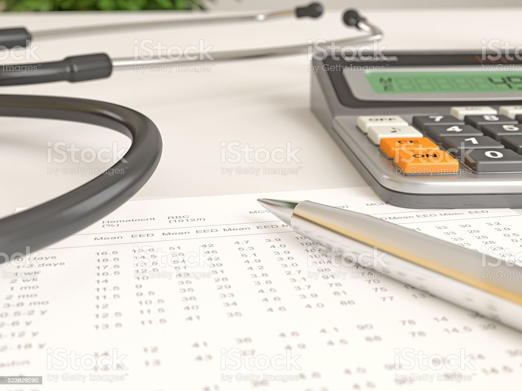 Stethoscope with Test results stock photo