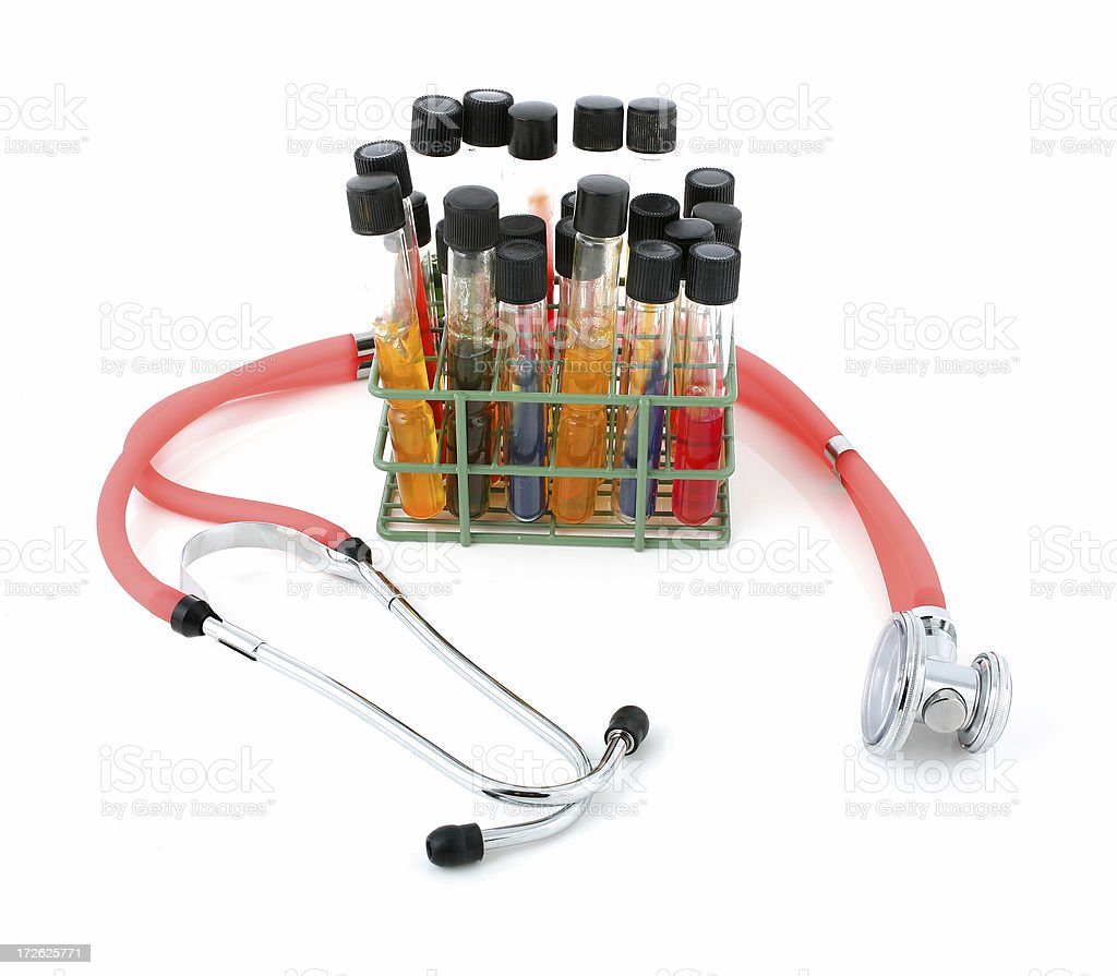 Stethoscope with test tubes stock photo