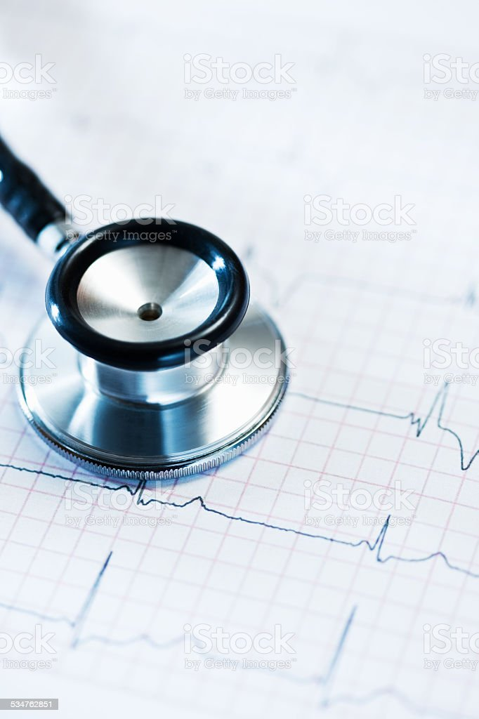 Stethoscope's Chestpiece On Medical Test stock photo