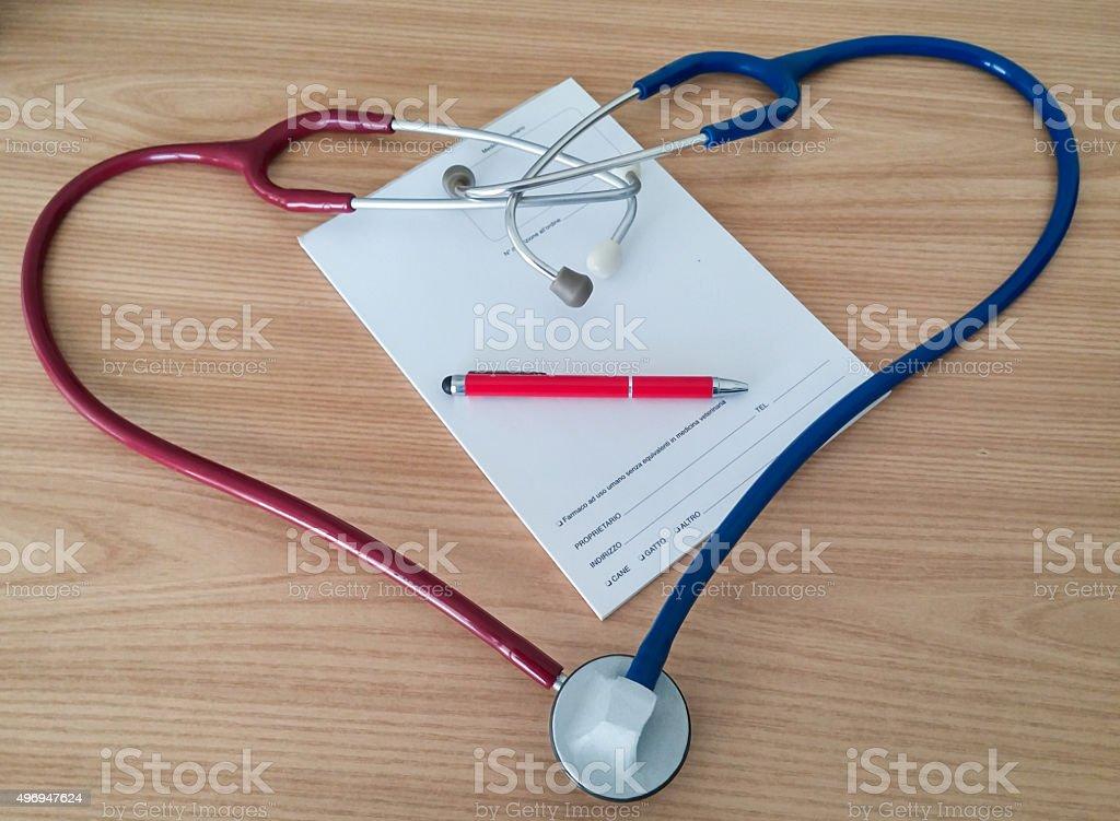 Stethoscopes heart,pen and recipe royalty-free stock photo