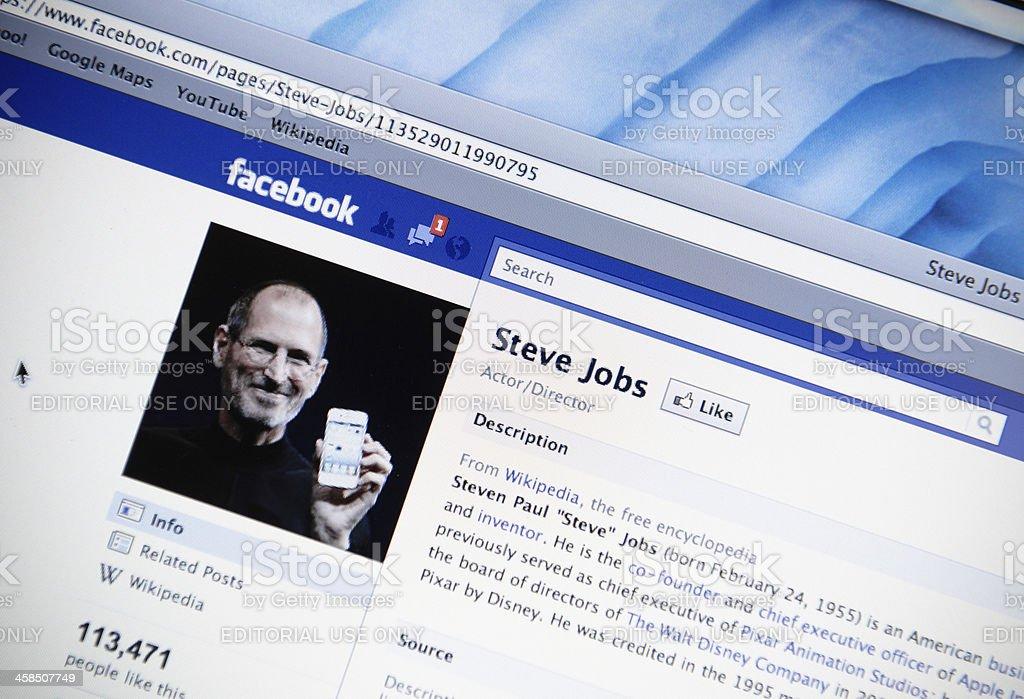Steve Jobs facebook fan page stock photo