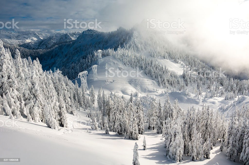 Stevens Pass, WA Big Chief Mountain and Hollywood Bowl stock photo
