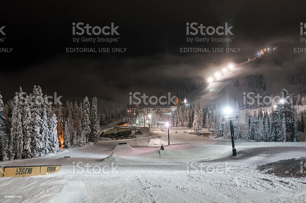 Stevens Pass, Washington Ski Resort Terrain Park at Night stock photo